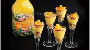קינוח: קרם תפוזים אישי, פירורי עוגת ספוג ופלחי הדרים מיובשים