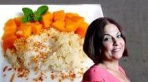 שרי שפילמן, הכוהנת הבאה של האוכל התאילנדי בארץ ישראל | רקע: אורז דביק עם מנגו | עיבוד צילום: שולי סונגו